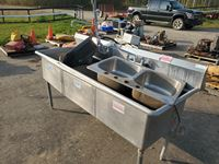"78"" Commercial Sink / (2) Smaller Sinks"