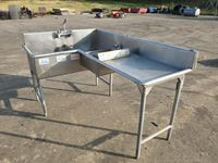 "80"" x 52"" L Shape Commercial Sink"