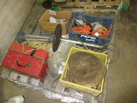 Pallet of Miscellaneous, Tool Box, Trouble Light & Wire