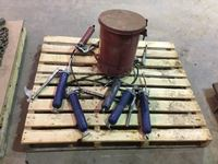 Pallet of Grease Guns & Waste Can