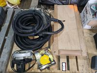 Pallet of Misc W/Creeper, Pump, Skillsaw, Tow Strap