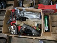 Misc Box of Tools, Hardware Ect, Box of UNIREX Grease