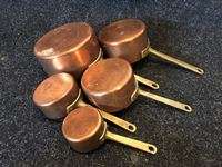 Set of (5) Copper and Brass Pots
