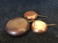 Set of (3) Copper and Brass Frying Pans