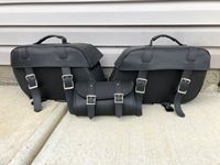 Set of Leather Motorbike Bags and Tool Bag