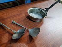 Antique Hand Crafted Copper and Metal Pan, Ladle and Flipper