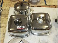 (3) Glass Cake Trays with Metal Lids