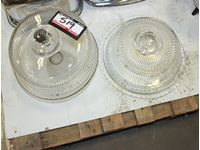 (2) Cake Trays with Glass Lids