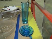 Blue Glass Tray And Vase