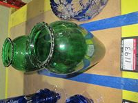 (2) Green Glass Vases
