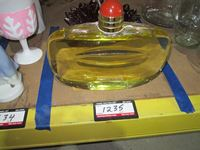 Store Display Perfume Bottle & Red Glass Candy Dish