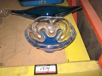 (2) Blue Glass Serving Dishes