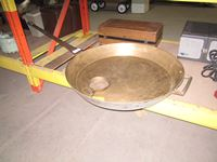 "33"" Brass Frying Pan with 6"" Brass Frying Pan"