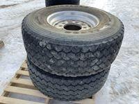 (2) 445/65R22.5 Tires on Aluminum Rims
