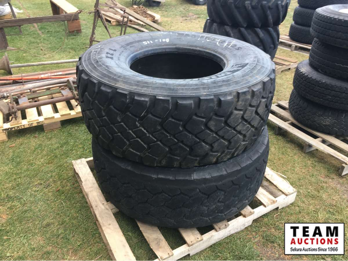 (2) 445/65R22.5 Truck Tires